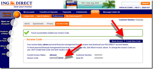 New read-only access created at ING Direct