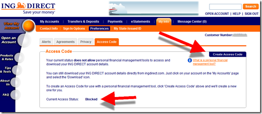 ING Direct create access code page