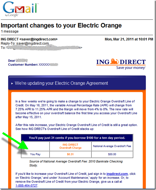 ING Direct email disclosing OD credit line APR increase (21 March 2011)