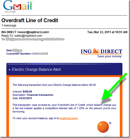 ING Direct (USA) Overdraft notice (22 March 2011)