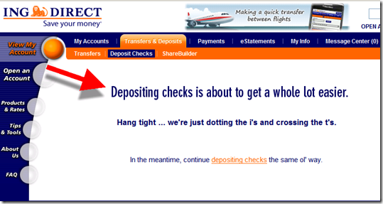 ING Direct's website implies that remote check deposit is coming soon
