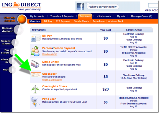 ING Direct's paper check book option 12 Aug 2011