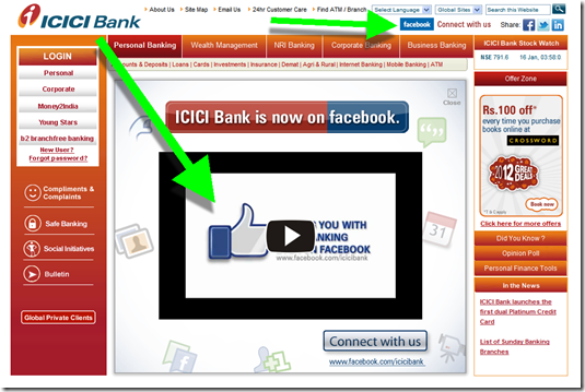 ICICI Bank displays a Facebook promo when landing on its homepage