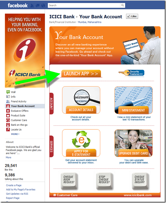 ICICI Bank's Your Bank Account page in Facebook