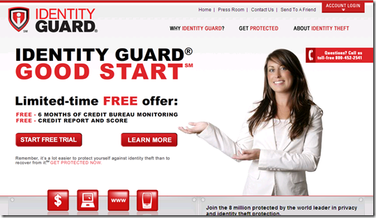 Identity Guard homepage (11 Aug 2008)