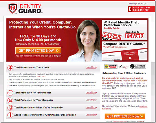 Identity Guard landing page from IMDB banner (12 Aug 2008)