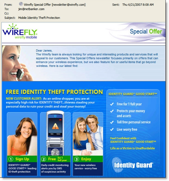 Email offer from Wirefly for mobile identity theft protection