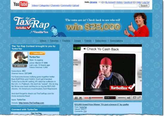 Intuit's TurboTax Rap YouTube homepage