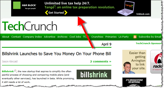 H&R Block Tango advertised on TechCrunch