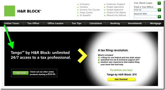 H&R Block landing page from TechCrunch banner