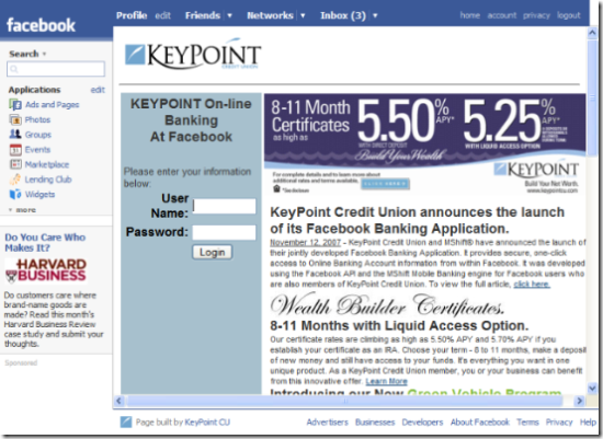Key Point Credit Union Facebook application