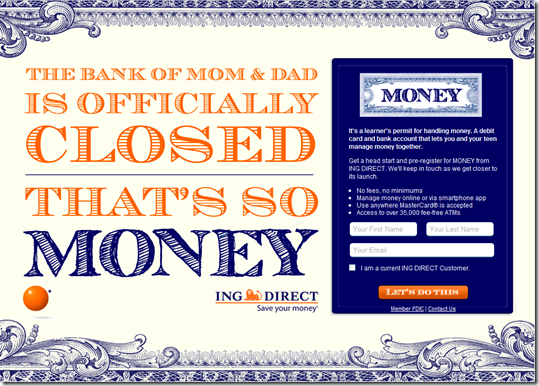 ING Direct teen banking microsite at ingdirectmoney.com (29 Aug 2011)