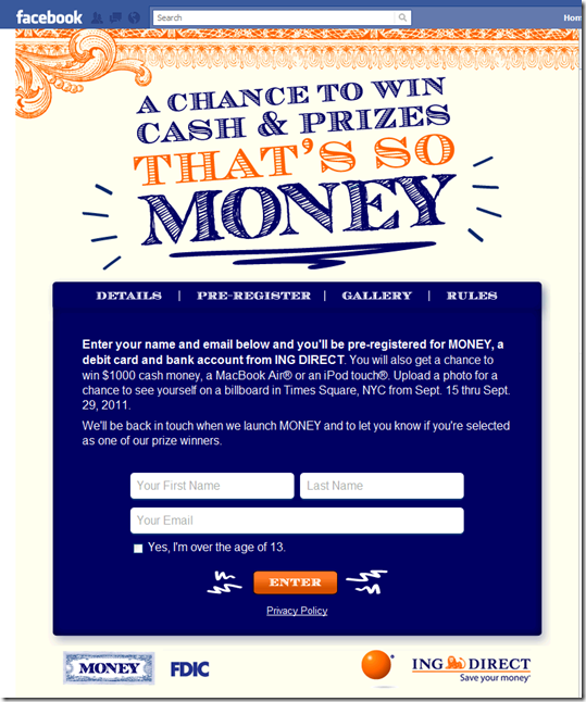 4. Facebook page signup form for ING Direct Money