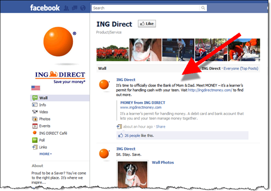6. Wall post this afternoon on main ING Direct Facebook page (29 Aug 2011)