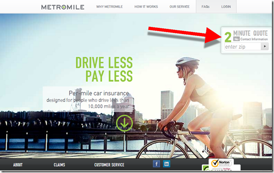 MetroMile homepage features 2-minute quote (5 Dec 2012)