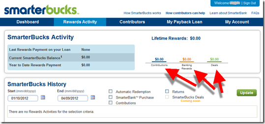SmarterBucks rewards activity screen from SimpleTuition