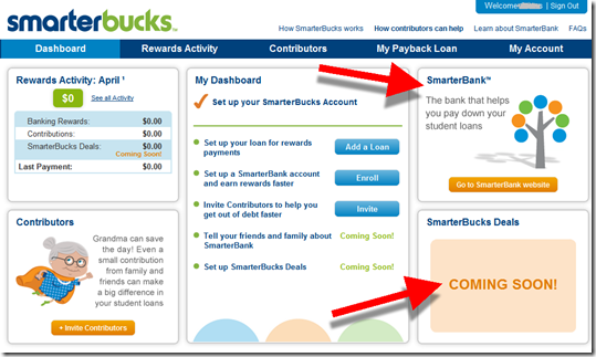 SmarterBuck dashboard with link to SmarterBank from SimpleTuition