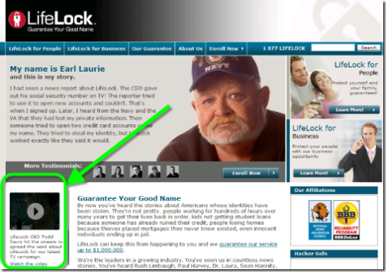 LifeLock 2-min television spot