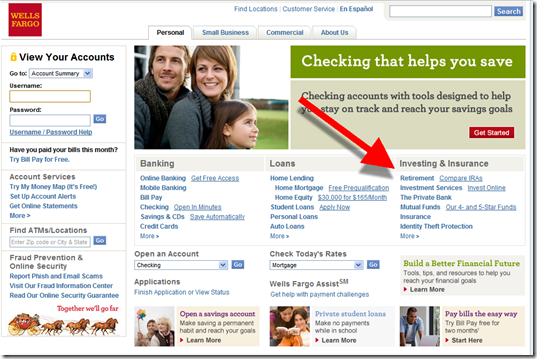 """Wells Fargo homepage with combined """"Investing & Insurance"""" category"""