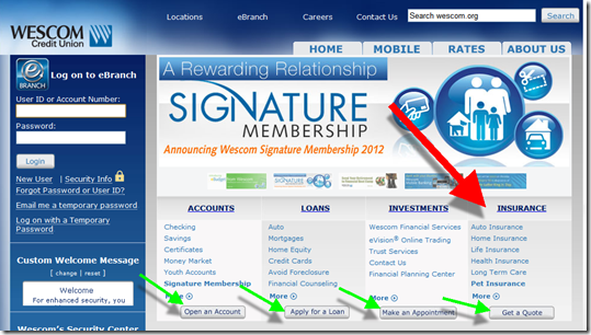 Wescom Credit Union homepage with both Insurance and Investment categories