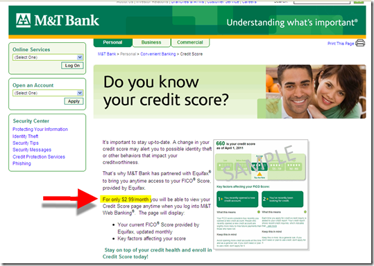 M&T Bank landing page for new integrated credit score (6 Jun 2011)