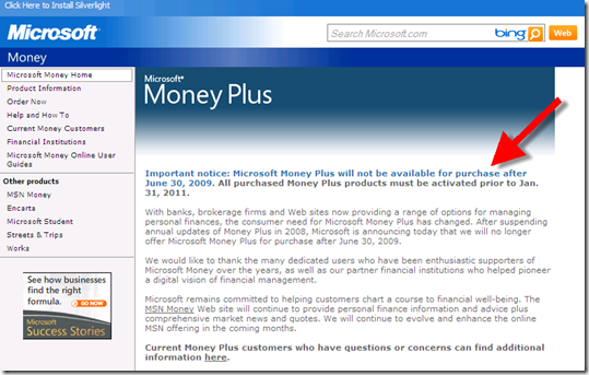 microsoft to discontinue selling microsoft money immediately end