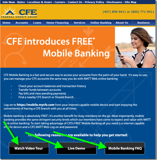 CFE Credit Union mobile banking landing page 9 July 2008