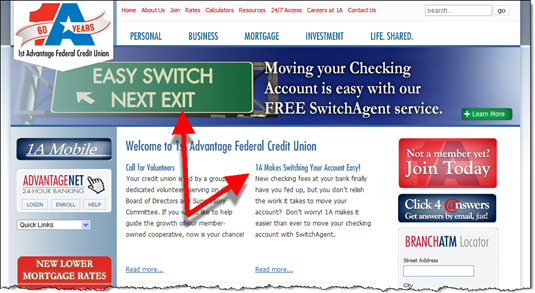 SwitchAgent at Homepage: 1st Advantage FCU