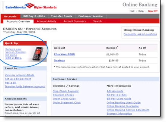 Verizon placement in BofA's online banking area