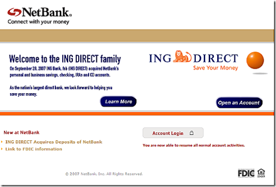 NetBank homepage with ING Direct message
