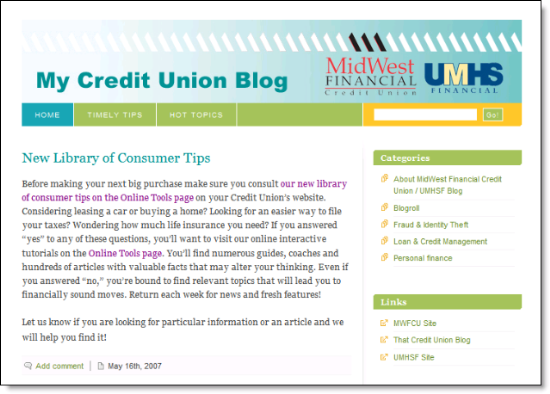 My Credit Union Blog from MidWest Financial CU and UMHS Financial