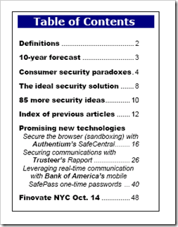 Online Banking Report: Security 4.0 Tabl of Contents Sep 2008