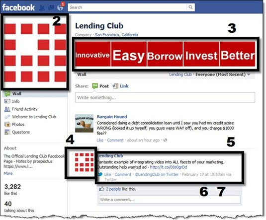 Sample Facebook brand page from Lending Club