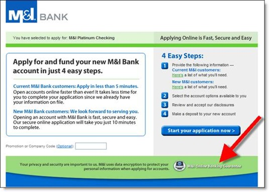 M&I Bank online application start page