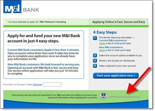 M&I Bank online application start page