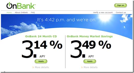 M&T's OnBank homepage