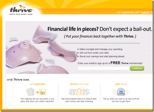 Thrive homepage for its new JustThrive service 23 Sep 2008