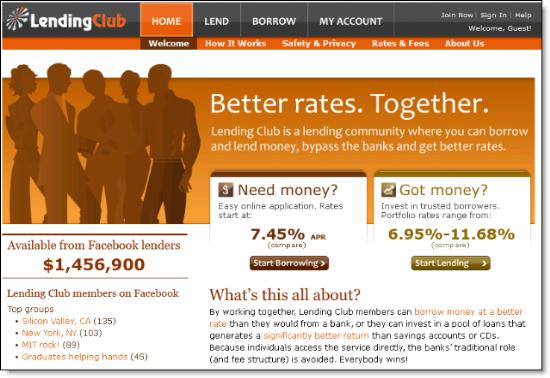 LendingClub homepage mockup