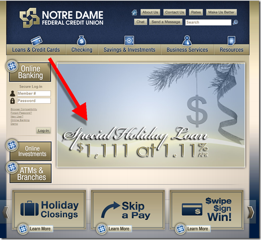 Notre Dame FCU hits all 1's on its homepage (11 Nov 2011)