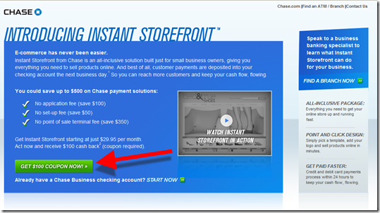 Landing page for Instant Storefronts