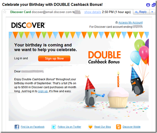 Discover Card birthday email (18 Aug 2011)
