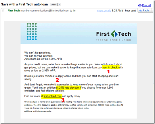 First Tech Credit Union email to members promoting 2.99% auto loans (31 Aug 2011; 9:28 AM Pacific)