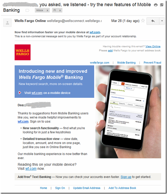 Wells Fargo customer email
