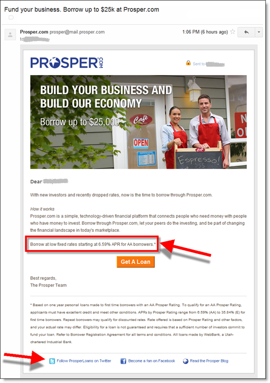Prosper email to business startups