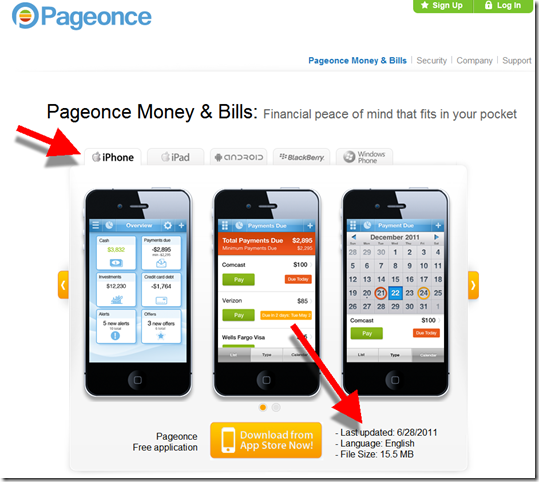 Pageonce iphone app showcased on its website
