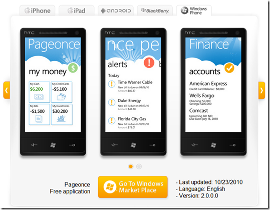 Pageonce on windows phone
