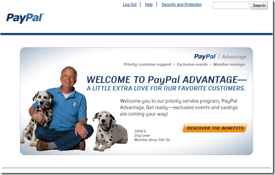 Interstitial displayed at PayPal login