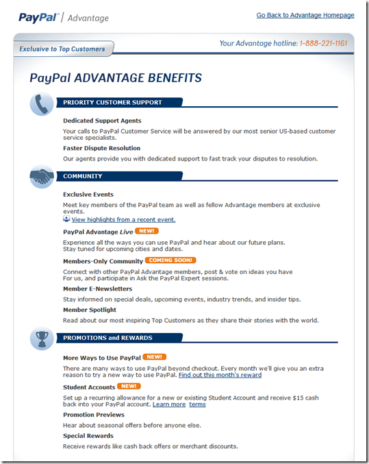 PayPal Advantage complete benefits page