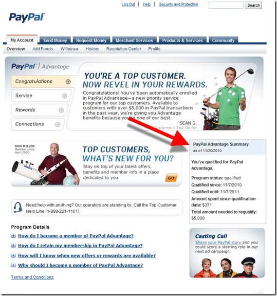 Details page showing specific progress towards PayPal advantage qualification