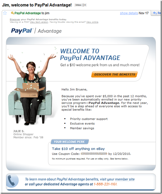 PayPal advantage Welcome email with $10 certificate for any eBay purchase